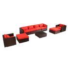 Kauai 9 Piece Sectional Set with Cushions Fabric: Red, Color: Brown