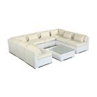 Oahu 9 Piece Sectional Set with Cushions Fabric: Ivory, Color: White