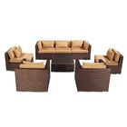 Molokai 8 Piece Sectional Set with Cushions Fabric: Taupe, Color: Brown