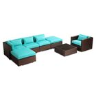 Lanai 7 Piece Sectional Set with Cushions Fabric: Turquoise, Color: Brown