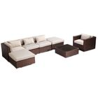 Lanai 7 Piece Sectional Set with Cushions Fabric: Grey, Color: Brown