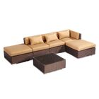 Poipu 6 Piece Sectional Set with Cushions Fabric: Taupe, Color: Brown
