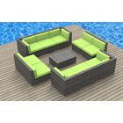 11 Piece Sectional Set with Cushions Fabric: Lime Green, Frame Color: Ash Gray