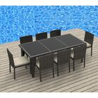 9 Piece Dining Set with Cushions Cushion Color: Beige, Color: Gray