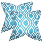Wolff Geometric Cotton Throw Pillow Color: Blue