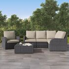 Costanzo 6 Piece Rattan Sectional Set with Cushions Color: Mushroom Grey