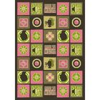 Green/Pink Area Rug Rug Size: 5'4