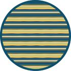 Blue/Yellow Area Rug Rug Size: Round 5'4