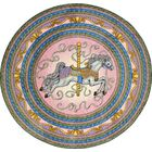 Hand-Tufted Blue/Pink/Yellow Area Rug Rug Size: Round 7'7
