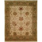 Geelong Hand-Knotted Ivory/ Green Area Rug Rug Size: Round 8'