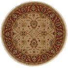 Hand-Knotted Beige/Red Area Rug Rug Size: Round 8'