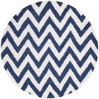 Hand-Tufted Wool Navy/Ivory Area Rug Rug Size: Round 8'