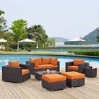 Ryele 8 Piece Rattan Sectional Set with Cushions Fabric: Espresso Orange