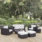 Ryele 8 Piece Rattan Sectional Set with Cushions Fabric: Espresso White