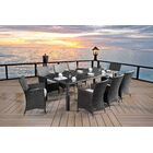 9 Piece Dining Set with Cushions Color: Espresso