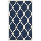 Leighton Wool Hand-Tufted Navy/Ivory Area Rug Rug Size: Rectangle 4' x 6'