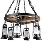 49er Series 6-Light Shaded Chandelier Finish: Natural Rust, Shade: Frosted