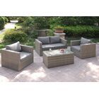 4 Piece Sofa Set with Cushions Color: Light Brown