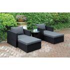 5 Piece Conversation Set with Cushions Color: Black