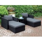 Welter 5 Piece Conversation Set with Cushions Color: Black