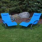 Warfel Rocking Wave Chaise Lounge with Pillow Finish: Blue