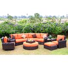 Serenity 8 Piece Sunbrella Sectional Set with Cushions Fabric: Rust