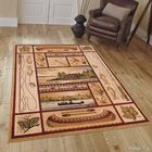 African Contours Brown Area Rug Rug Size: 7'7