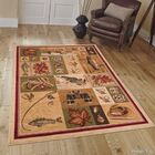 African Contours Brown Area Rug Rug Size: 5'2