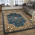 Andrews High-Quality Woven Floral Printed Double Shot Drop-Stitch Carving Light Blue Area Rug Rug Size: 7'10