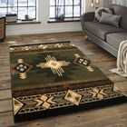 Iberide High-Quality Woven Native American Runner Double Shot Drop-Stitch Carving Sage Green Area Rug Rug Size: 7'10