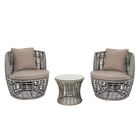 3 Piece Conversation Set with Cushions Cushion Color: Gray