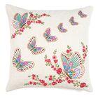 Butterfly Embroidery Work Linen Throw Pillow