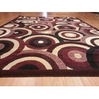 Hand-Carved Red Area Rug Rug Size: Round 8'