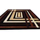 Hand-Carved Black/Brown Area Rug Rug Size: Rectangle 7'11