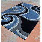 Light Blue/Black Area Rug Rug Size: 5'3