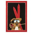 Dog with Ski Gear Red/Brown Area Rug