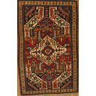 Antique Rusian Kazak Hand-Knotted Wool Rust/Navy Area Rug
