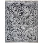 One-of-a-Kind Genuine Modern Hand-Knotted Silk and Wool Gray Area Rug