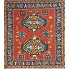 Turkish Kazak Hand-Knotted Wool Red Area Rug