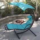 Polyester Hanging Chaise Lounger with Stand Color: Blue