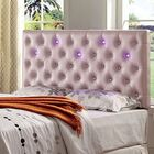 Royal Upholstered Panel Headboard with Led Lighting Color: Pink, Size: King