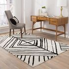 Bourassa Geometric Handmade White Area Rug Rug Size: Rectangle 5' x 8'