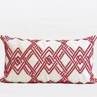Handmade Textured Beaded Lumbar Pillow Color: Red