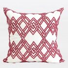Handmade Textured Beaded Throw Pillow Color: Red