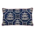 Pagoda Scene Indoor/Outdoor Lumbar Pillow (Set of 2) Color: Navy