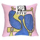 Femme Assise a La Robe Bleue II Throw Pillow