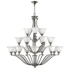 Bolla 18-Light Shaded Chandelier Finish: Brushed Nickel, Shade Color: Light Amber Seedy Glass