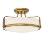 Heliotrope 3-Light Semi Flush Mount Fixture Finish: Heritage Brass, Bulb Type: Incandescent