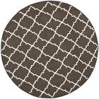 Dhurries Hand-Woven Wool Brown/Ivory Area Rug Rug Size: Round 6'