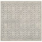 Landen Hand-Tufted Silver/Ivory Area Rug Rug Size: Square 9'